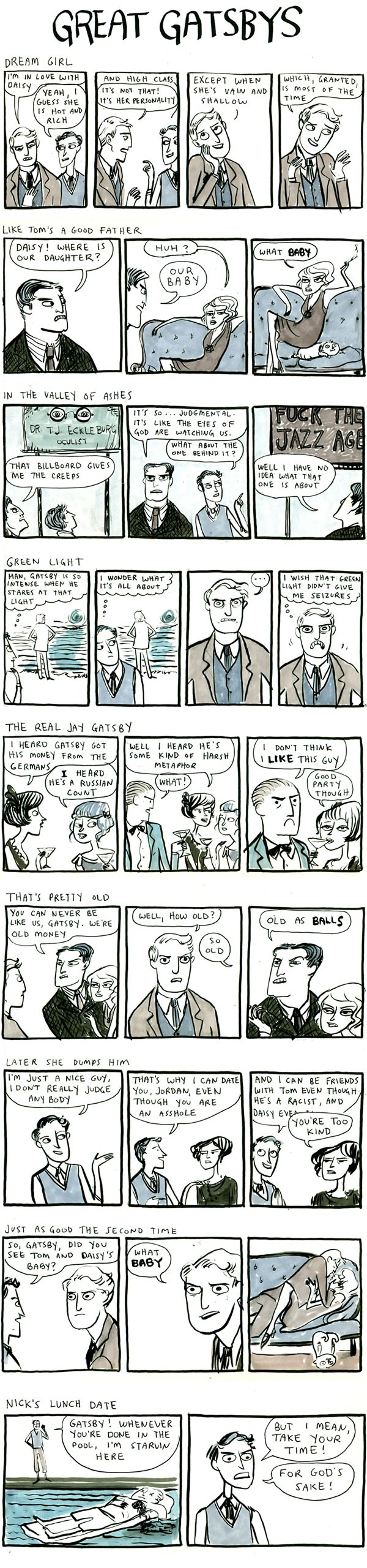 "Kate Beaton's comics spoofing ""The Great Gatsby"""