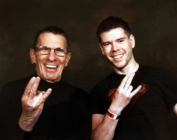 """Leonard Nimoy and some dude making the """"shocker"""" hand sign"""