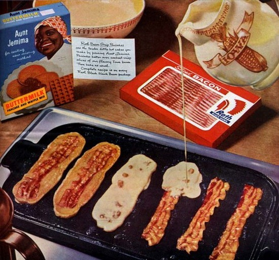 Pancakes made by pouring batter onto frying bacon