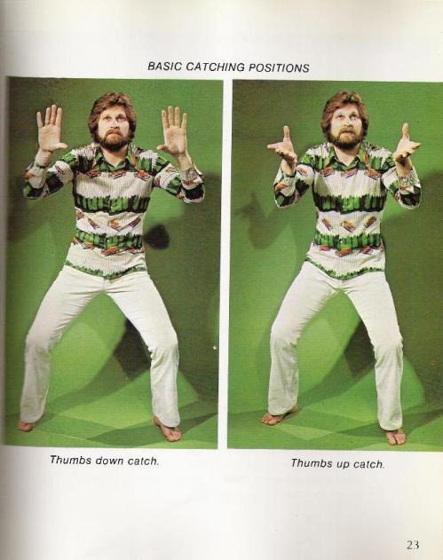 "1970s guys in a very 1970s outfit demostrating the ""thumbs-down catch"" and the ""thumbs-up catch"""