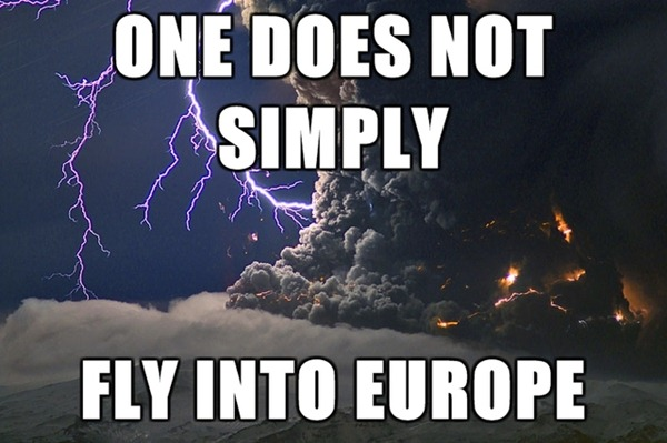 """Picture of icelandic volcano ash cloud and lightning: """"One does not simply fly into Europe"""""""