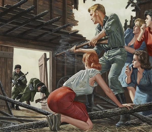 Young American man surrounded by four buxom women making his last stand in a barn, facing off against two Russian soldiers