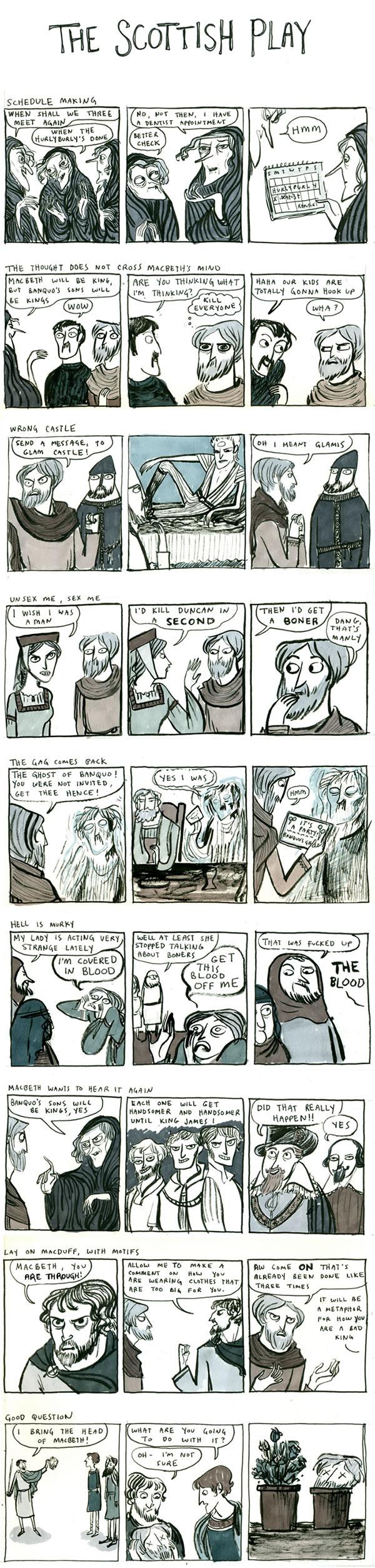 "Kate Beaton's comic, ""The Scottish Play"""