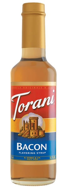 Bottle of Torani bacon flavouring syrup