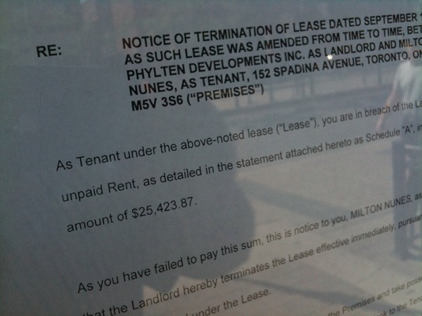 Le Gourmand termination notice