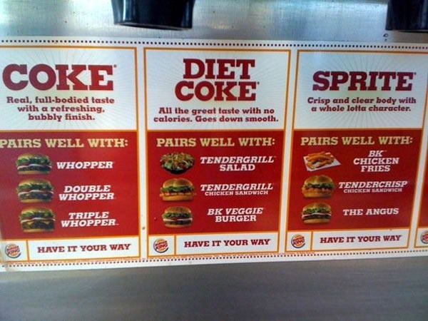 Stickers showing Burger King's suggested food-soft drink pairings: Coke with the Whoppers, Diet Coke with Tendergrill Salad, Tendergrill Chicken Sandwich and BK Veggie Burger and Sprite with BK Chicken Fries, Tendercrisp Chicken Sandwich and The Angus