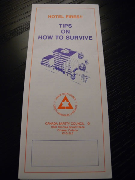 "Photo: Pamphlet - ""Hotel fires!! Tips on How to Survive"""