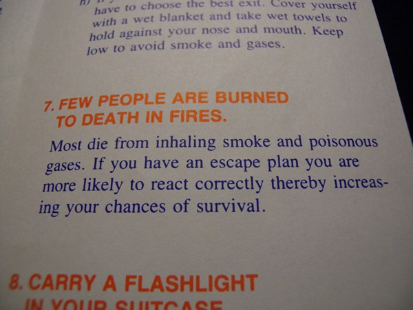 "Photo: Pamphlet - ""Few people are burned to death in fires."""