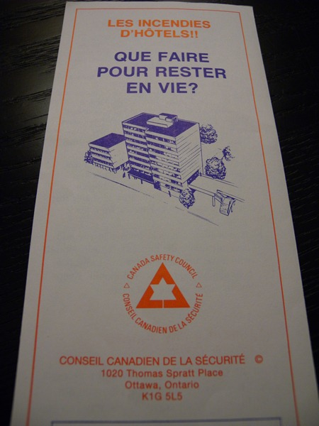 "Photo: Pamphlet - ""Les incendies d'Hotels!! Que Faire Pour Rester en Vie?"""