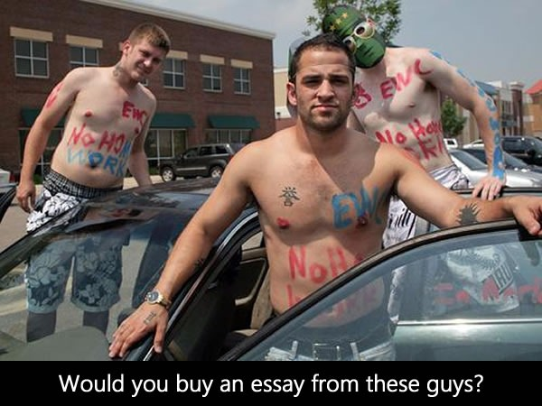 "Photo: Jordan Kavoosi and two-coworkers, shirtless with the words ""EWC - No homework"" painted on their chests. ""Whould you buy an essay from these guys?"""