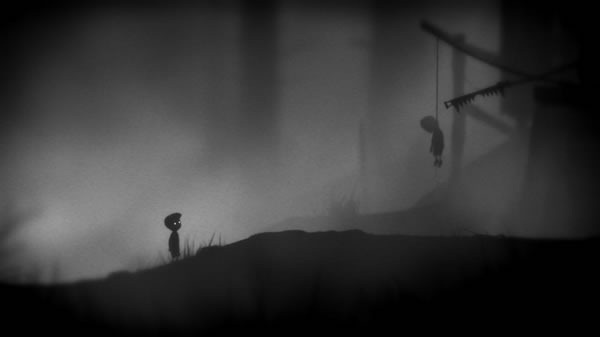 Limbo screenshot: the boy comes across a body hanging from a noose
