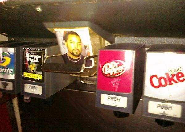 Soda dispensing machine with a picture of Ice Cube on the ice dispenser