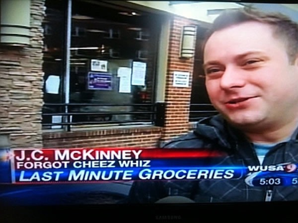 "Still from a local news interview - lower third reads ""J.C. McKinney / Forgot Cheez Whiz / Last Minute Groceries"""