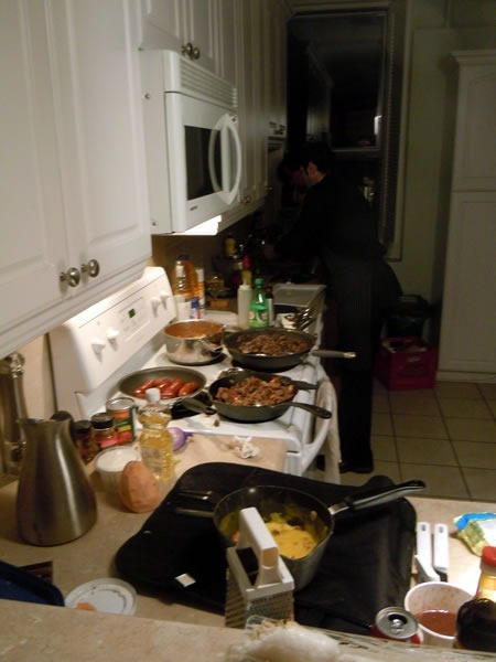 Unspace's kitchen, with the catering crew preparing food