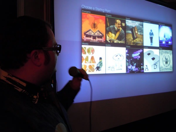 Pete Forde showing off the screens from the music web app