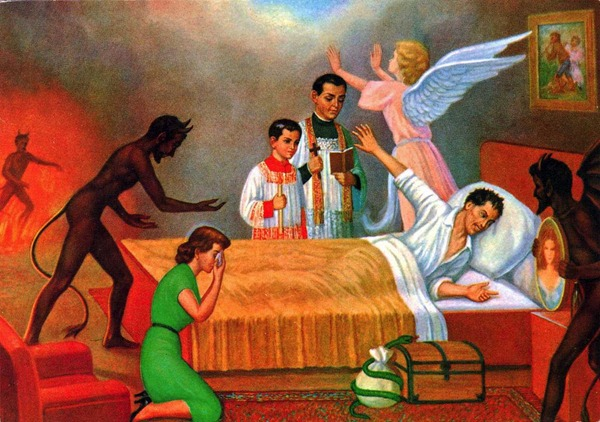 """Painting: """"A Sinner's Struggle"""" - a man lies in bed while a priest an altar boy try to save him, his wife prays for him and demons and angels fight for his soul."""