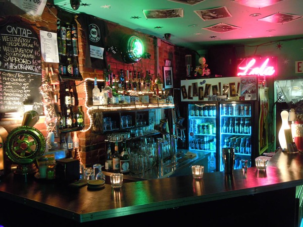 The well-appointed, well-stocked bar at the Black Dice Cafe