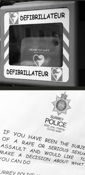 Defibrillator and sexual assault notice using Comic Sans