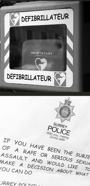 Defibrillator and sexual assault notice using Comic Sans