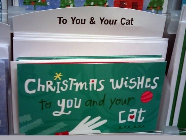 "Christmas card in a card rack: ""Christmas wishes to you and your cat"""