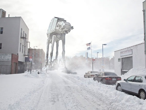 Snow-covered Williamsburg street with Imperial Walker photoshopped into the background