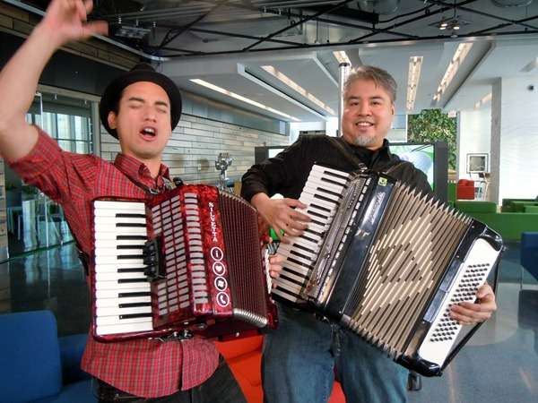 Carlos and Joey playing accordions