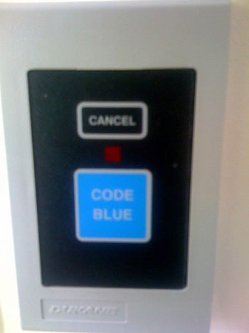 """Code Blue"" button in a hospital room"