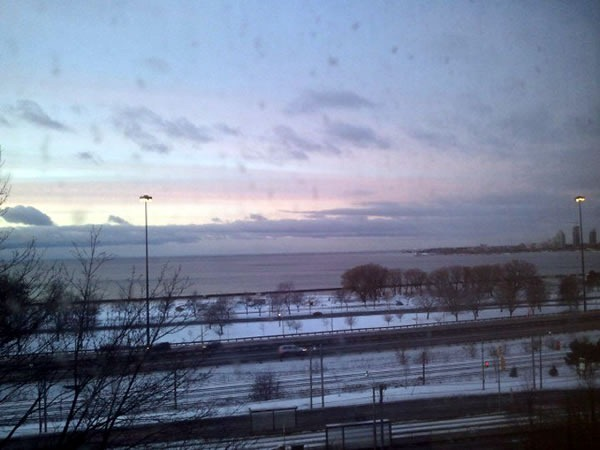 Sunset view of Queensway, Gardiner Expressway and Lake Shore Blvd. from St. Joseph's Health Centre