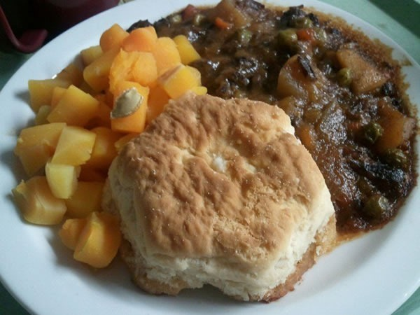 Hospital dinner: cube squash, beef stew, biscuit