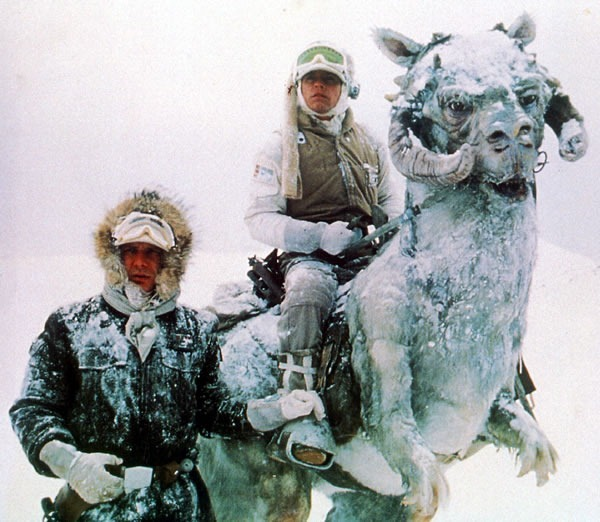 Han Solo and Luke Skywalker on the ice planet hoth