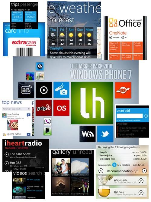 Lifehacker Pack 2010: Windows Phone 7 -- collage of screenshots from Lifehacker's chosen Windows Phone 7 apps