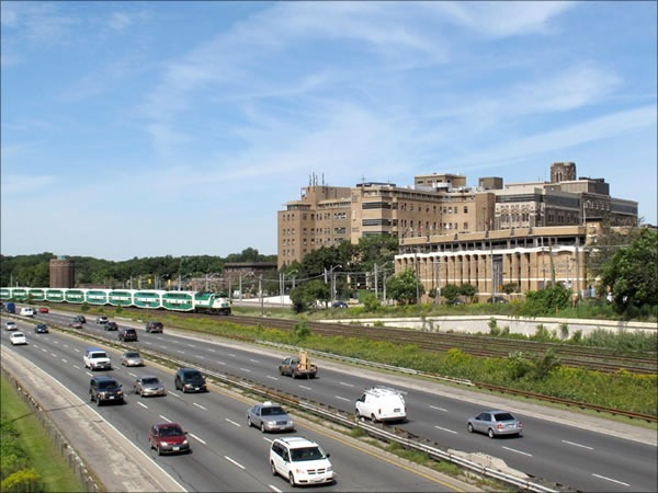 St. Joseph's Health Centre, as seen from the Gardiner Expressway