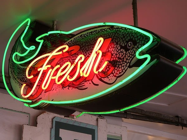 Fresh: fish-shaped neon sign at Pike Place Market, Seattle