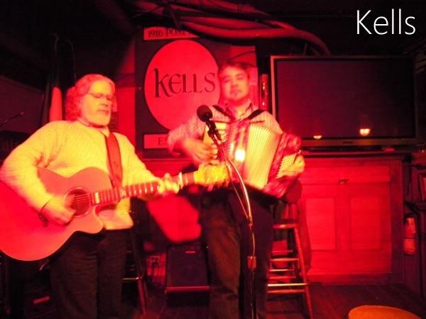 Stage at Kells Irish Pub - guitar player and Joey deVilla on accordion