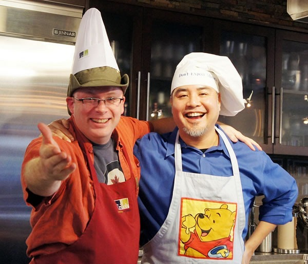 Rick Claus and Joey deVilla in chef's hats