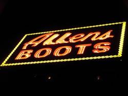 Allen's Boots neon sign