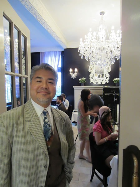 Joey deVilla, at the entrance to the Windsor Arms' tea room
