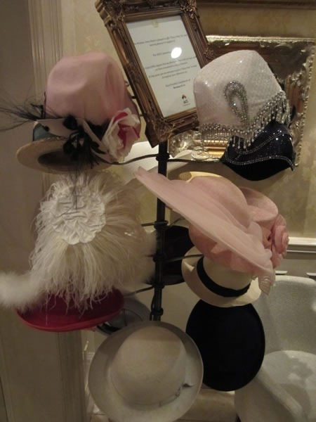 The hat rack at Windsor Arms Hotel's tea room