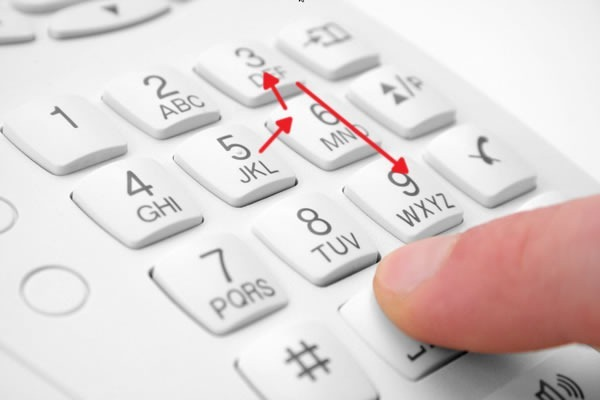 "Dialing ""5639"" on a phone keypad"