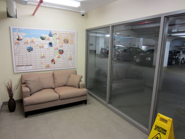 Elevator lobby for 126 Sparks, featuring a couch