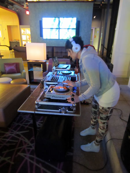 The Friday night DJ, spinning tunes in the lobby bar