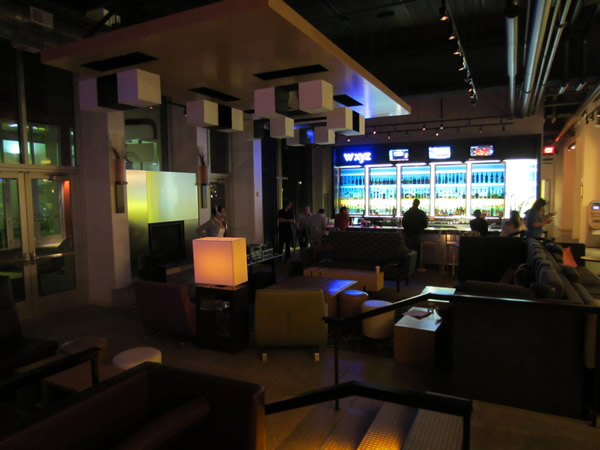 The lobby bar, as seen from the far end of the lobby