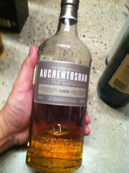 Bottle of Auchentoshan scotch