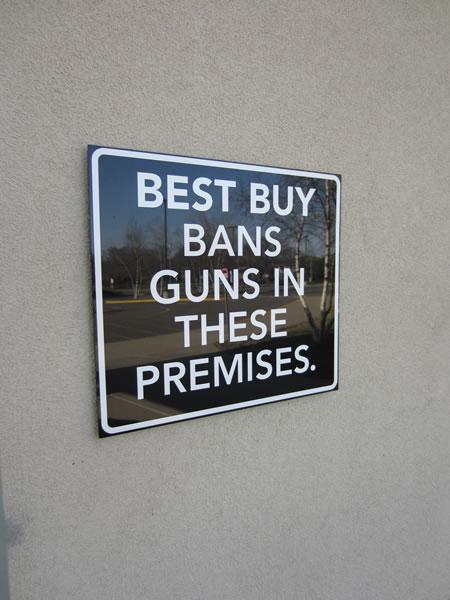 Best buy bans gun in these premises