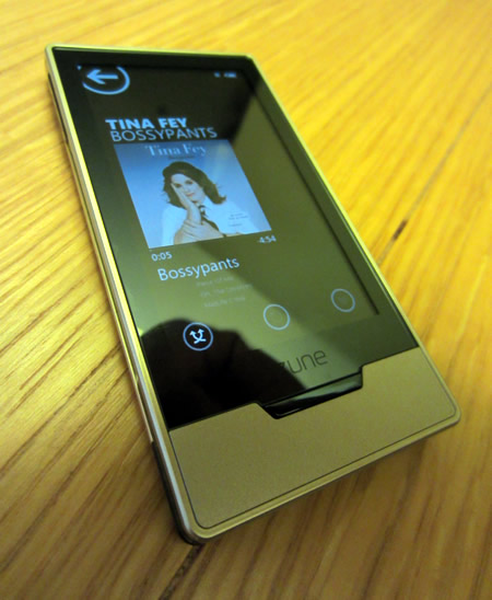 My Zune HD showing Tina Fey's Audiobook