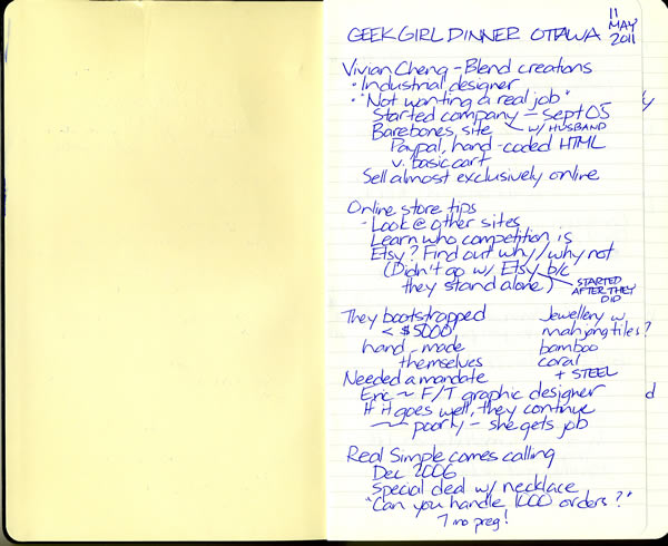 Scan of my handwritten notes from Geek Girl Dinner Ottawa, page 1