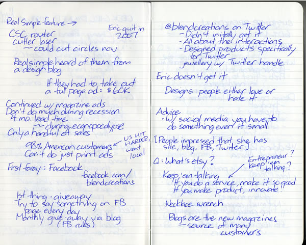 Scan of my handwritten notes from Geek Girl Dinner Ottawa, page 2
