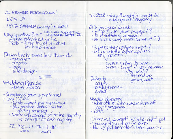 Scan of my handwritten notes from Geek Girl Dinner Ottawa, page 3