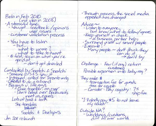 Scan of my handwritten notes from Geek Girl Dinner Ottawa, page 4