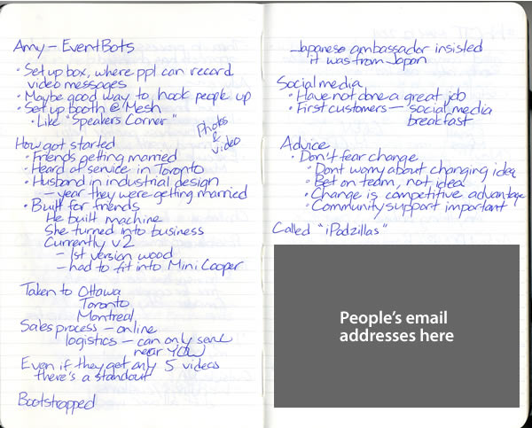 Scan of my handwritten notes from Geek Girl Dinner Ottawa, page 5